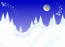 Winter christmas landscape,. Hand drawn Royalty Free Stock Image