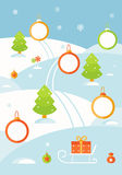 Winter Christmas Landscape Background with Frames for Infographics Elements or Photos Stock Images
