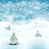 Winter Christmas Landscape Background With Snow Stock Images