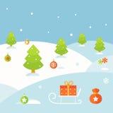 Winter Christmas Landscape Background Stock Photography