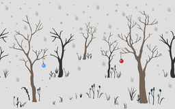 Winter Christmas landscape background with trees, snow, snowflakes toys. Trees. First Snow. Winter Christmas landscape background with trees, snow, snowflakes Stock Image