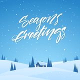 Winter christmas landscape with cartoon house on snowy hills and handwritten lettering of Season`s Greetings. Vector illustration: Winter christmas landscape stock illustration