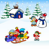 Winter christmas landscape. Children sled sliding on the snow,and making snowman,winter view card vector illustration