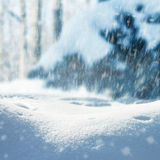 Winter christmas landscape with falling snow, winter background Royalty Free Stock Photo