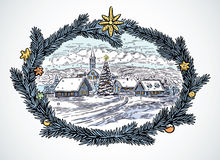Winter Christmas landscape. Festive winter rural landscape with frame from spruce needles. Performed in a manual way of drawing, imitating the engraving Royalty Free Stock Photography