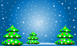 Winter Christmas landscape with fir trees. And snowflakes Royalty Free Stock Images
