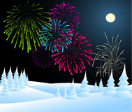 Winter christmas landscape with fireworks Stock Image