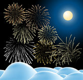 Winter christmas landscape with fireworks. Winter christmas landscape in night with fireworks (vector Stock Images