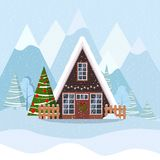 Winter christmas landscape with a-frame house in scandinavian style decorated garland and wreath royalty free illustration