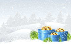 Winter christmas landscape. Gift box and branch of Christmas in the winter landscape.Bright greeting card Stock Photo