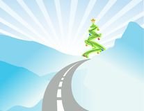 Winter christmas landscape illustration Stock Photos