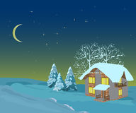 Winter christmas landscape,illustrations Stock Photos