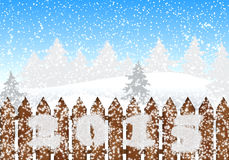 Winter christmas landscape 2015. Magic premise of the New Year 2015. Winter forest with wooden fence and frosty text 2015 vector illustration