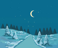 Winter, christmas landscape with moon Royalty Free Stock Photography