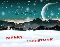 Winter Christmas landscape with santa Royalty Free Stock Photo