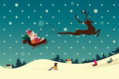 Winter Christmas Landscape with Santa end Children Royalty Free Stock Images