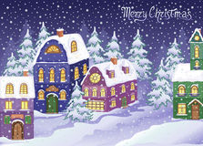 Winter Christmas landscape with snowy houses Royalty Free Stock Images