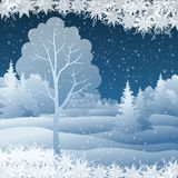 Winter Christmas landscape with tree Stock Photos