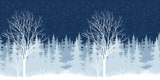 Winter Christmas landscape with tree Royalty Free Stock Photography