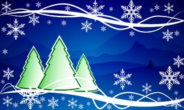 Winter christmas landscape. Vector art illustration of snow Stock Image