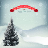 Winter Christmas landscape vector background with Stock Image