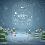 Winter Christmas landscape vector illustration. Royalty Free Stock Photos