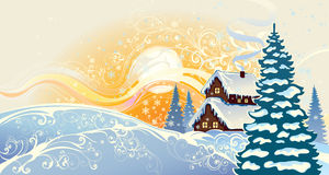 Winter christmas landscape. Royalty Free Stock Images