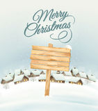 Winter Christmas landscape with a wooden ornate sign background. Royalty Free Stock Photo