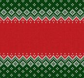 Winter Christmas Scandinavian knitted seamless abstract background frame and border. Winter Christmas x-mas knitted seamless abstract background frame and Stock Image