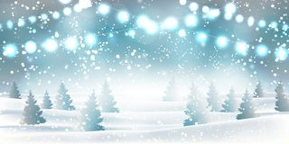 Winter Christmas and new year background heavy snowfall, snowflakes of different shapes and forms, snowdrifts, garlands, christmas stock illustration