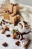 Winter Christmas New Year hot drink. Cup of hot chocolate or cocoa with marshmallow, gift boxes with ribbon, fir branch, star anis. Christmas hot drink. Winter stock photos
