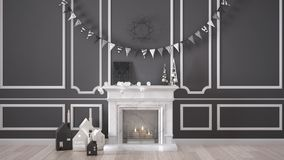 Winter, Christmas, New Year interior design with fireplace and d Royalty Free Stock Image