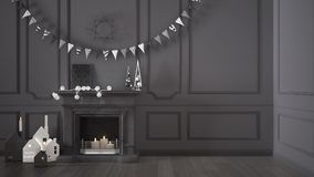 Winter, Christmas, New Year interior design with fireplace and d Stock Image