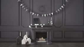Winter, Christmas, New Year interior design with fireplace and d Stock Photography