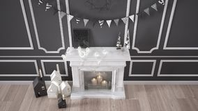 Winter, Christmas, New Year interior design with fireplace and d Stock Photos