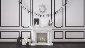 Winter, Christmas, New Year interior design with fireplace and d Royalty Free Stock Photo