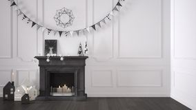 Winter, Christmas, New Year interior design with fireplace and d Stock Images