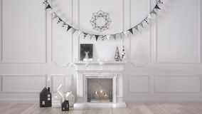 Winter, Christmas, New Year interior design with fireplace and d. Ecor, white modern minimal architecture Stock Image
