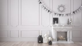 Winter, Christmas, New Year interior design with fireplace and d. Ecor, white modern minimal architecture Royalty Free Stock Photos