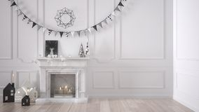 Winter, Christmas, New Year interior design with fireplace and d. Ecor, white modern minimal architecture Royalty Free Stock Image
