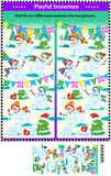 Find the differences picture puzzle with playful playful snowmen Royalty Free Stock Images