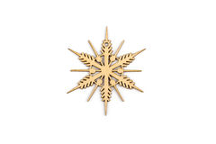 Winter,Christmas, New Year wooden decoration - snowflake, star. Stock Photos