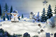 Winter and Christmas ornaments on snow stock photography