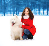 Winter, christmas and people concept - happy woman having fun Royalty Free Stock Photo