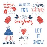 Winter and Christmas quotes set stock images