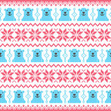 Winter, Christmas red and bear seamless pixelated pattern with polar bears Royalty Free Stock Image