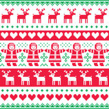 Winter, Christmas red and green seamless  pattern or print Royalty Free Stock Photography