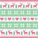 Winter, Christmas red and green seamless pixelated pattern with deer Stock Photos