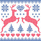 Winter, Christmas red and navy pattern card Stock Images