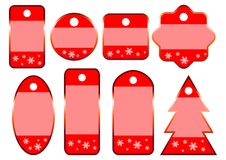 8 Winter Christmas Red Sale Tags Stock Photos